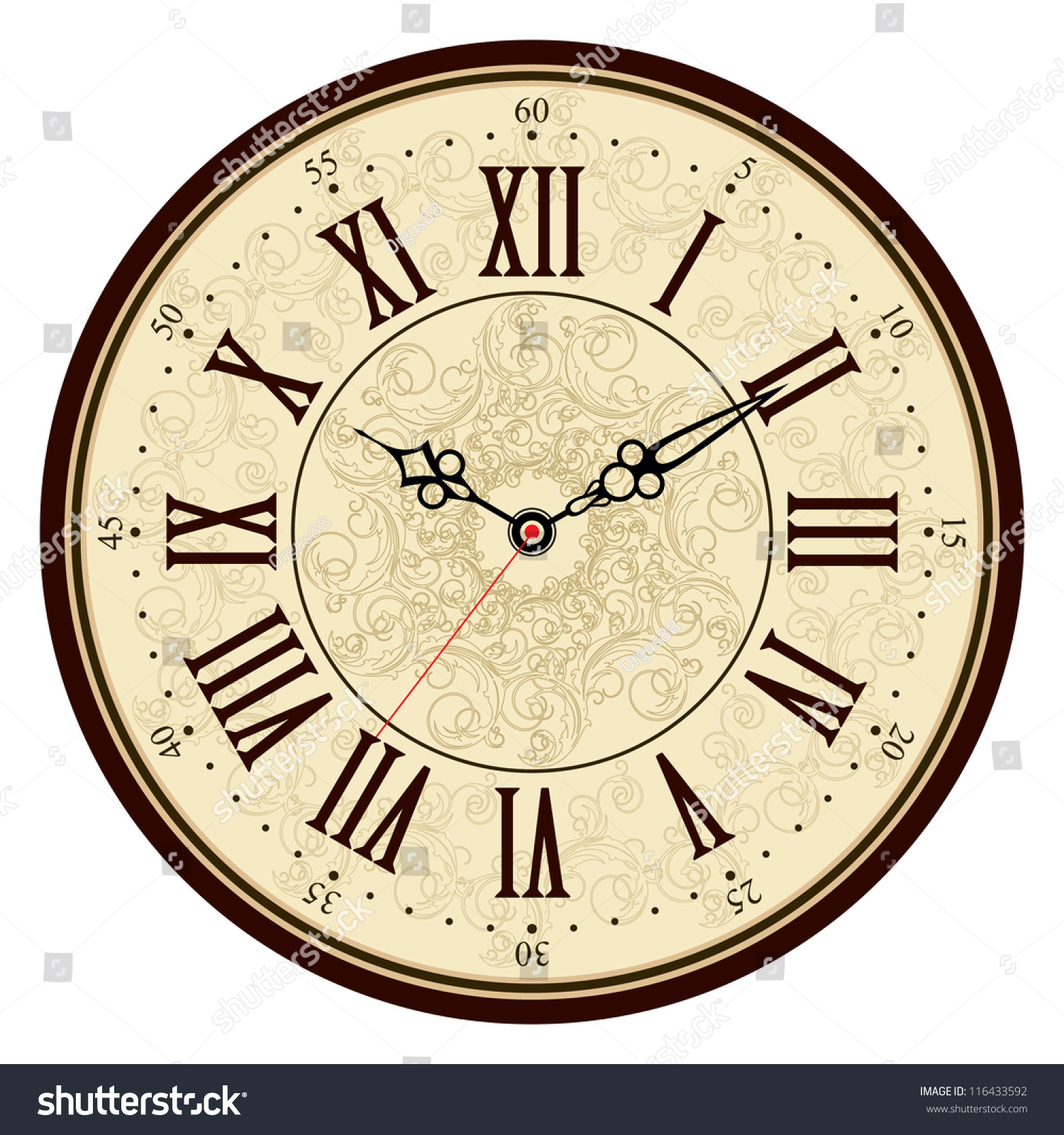 Vector Old Vintage Clock Face Stock Vector 116433592