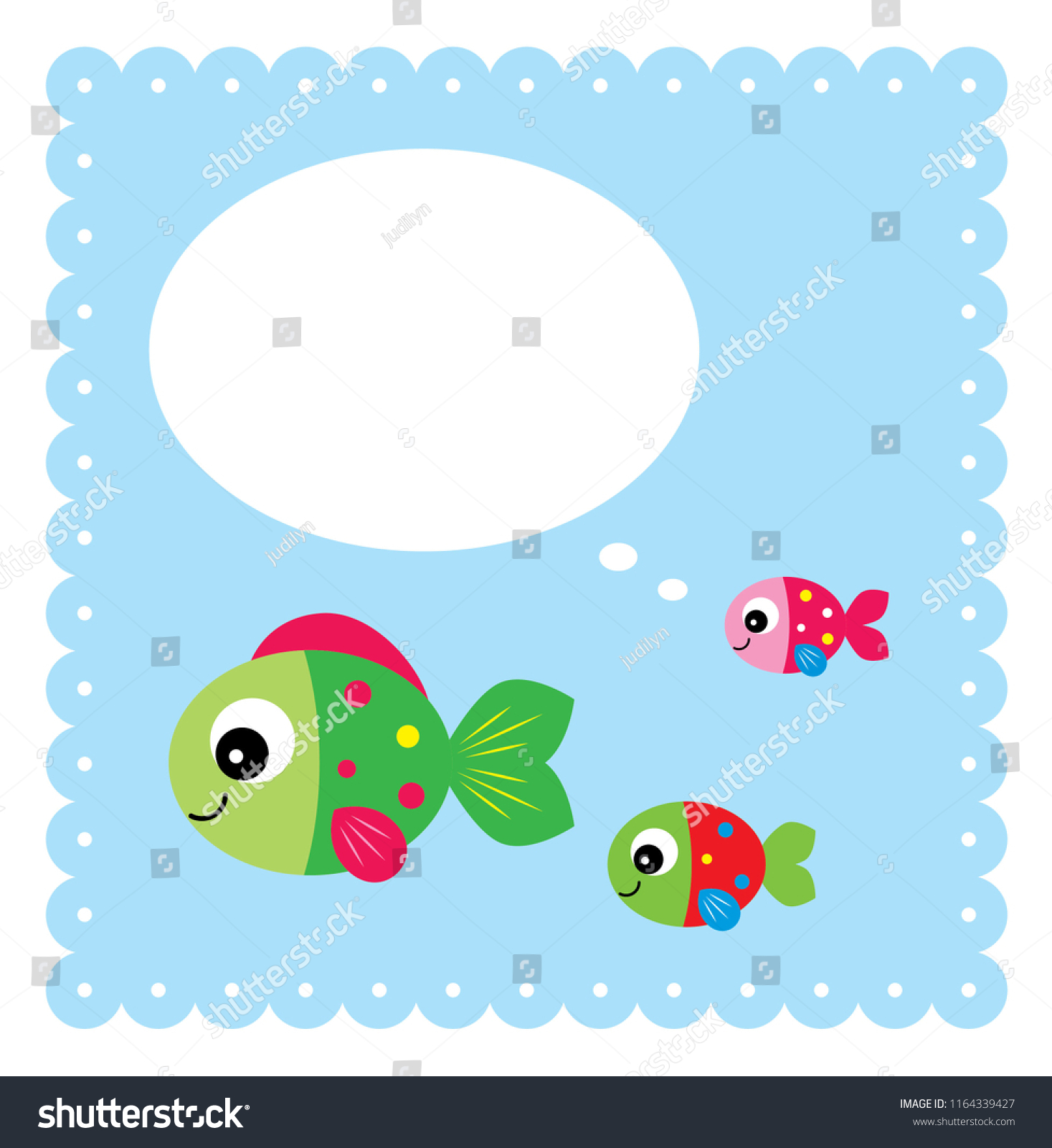 Baby Arrival Greeting Card Cute Fishes Stock Vector Royalty Free