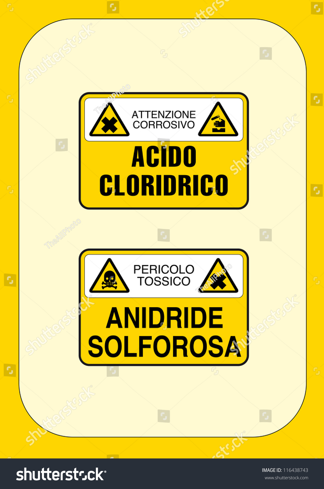 Signal Danger Attention Corrosive Hydrochloric Acid Stock Vector ...