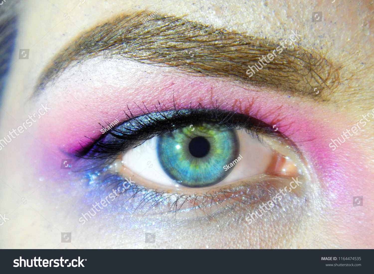 Eye Makeup Closeup Bright Pink Purple Stock Photo Edit Now