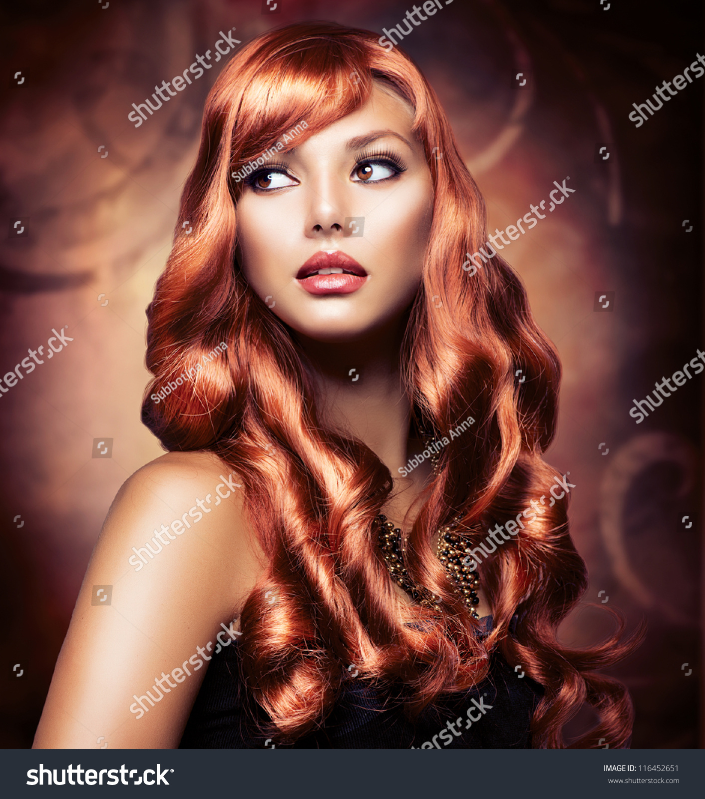 Astounding Portrait Of A Beautiful Girl With Healthy Long Red Hair And Short Hairstyles For Black Women Fulllsitofus