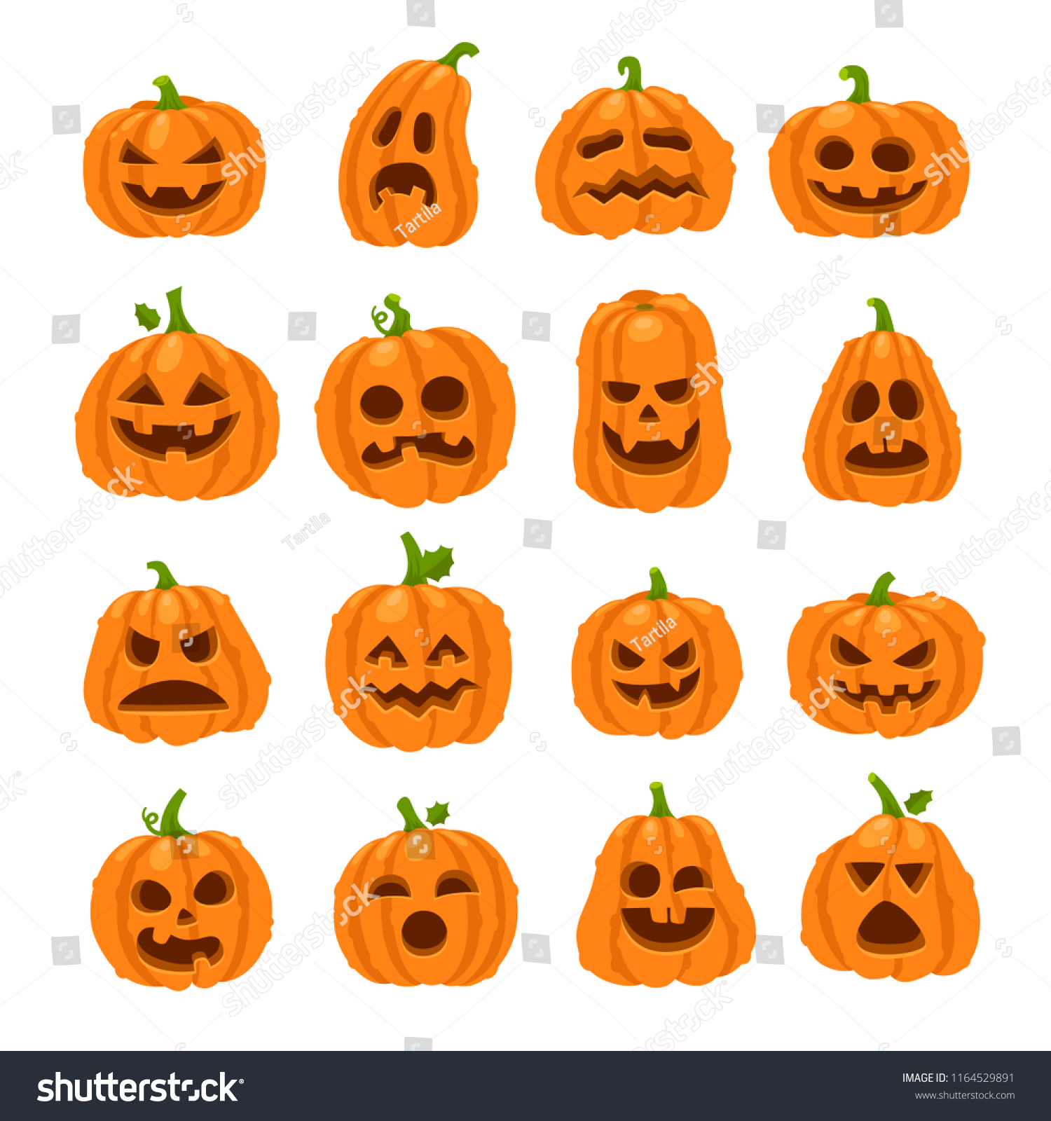 Cartoon Halloween Pumpkin Orange Pumpkins Carving Stock Vector