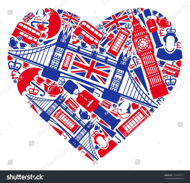 Traditional Symbols London England Form Heart Stock Vector