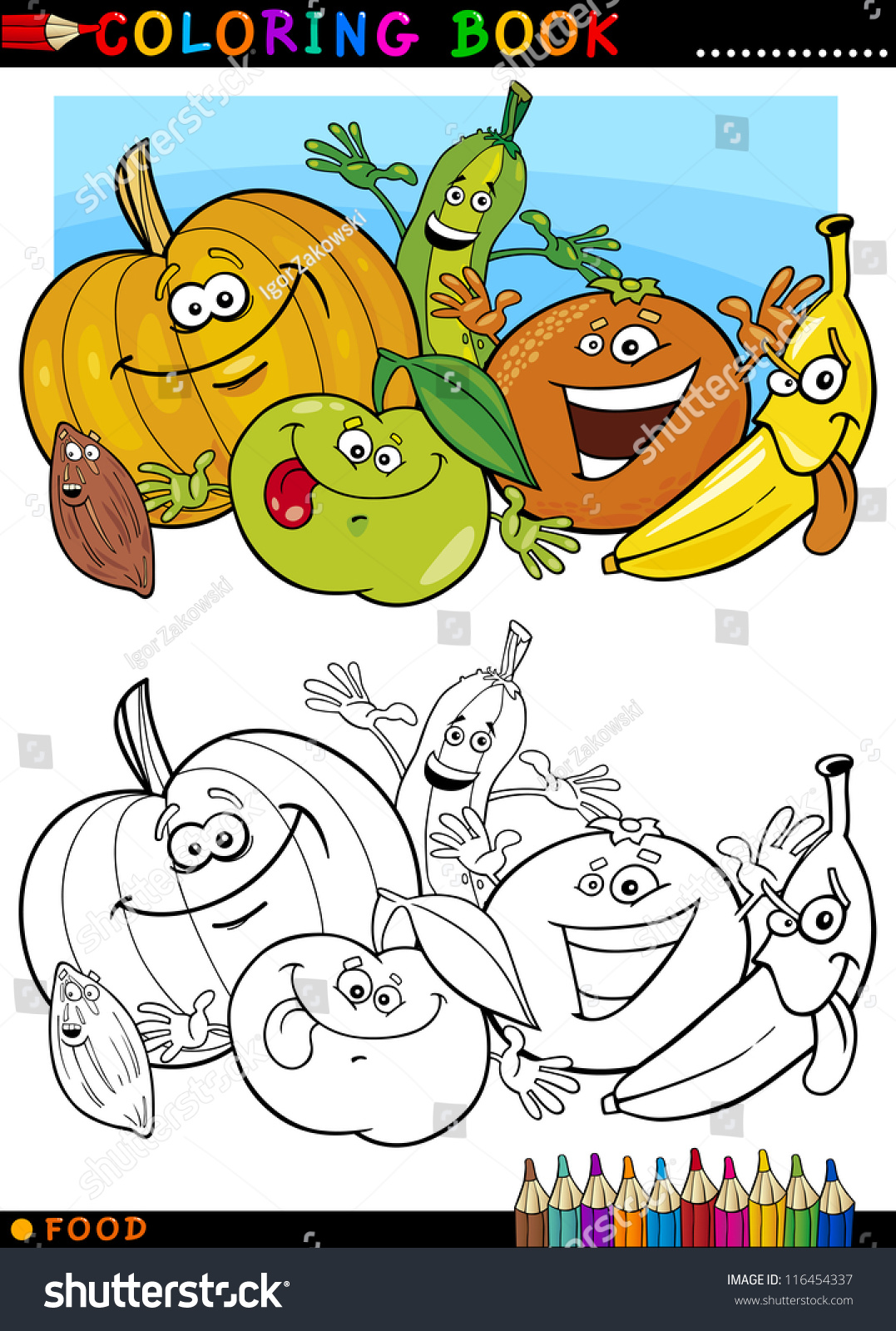 Coloring book pictures of vegetables - Coloring Book Or Page Cartoon Illustration Of Funny Food Characters Fruits And Vegetables For Children Education