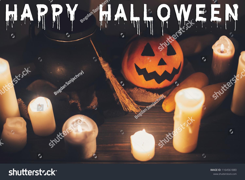 happy halloween text concept seasons greeting stock photo (edit now