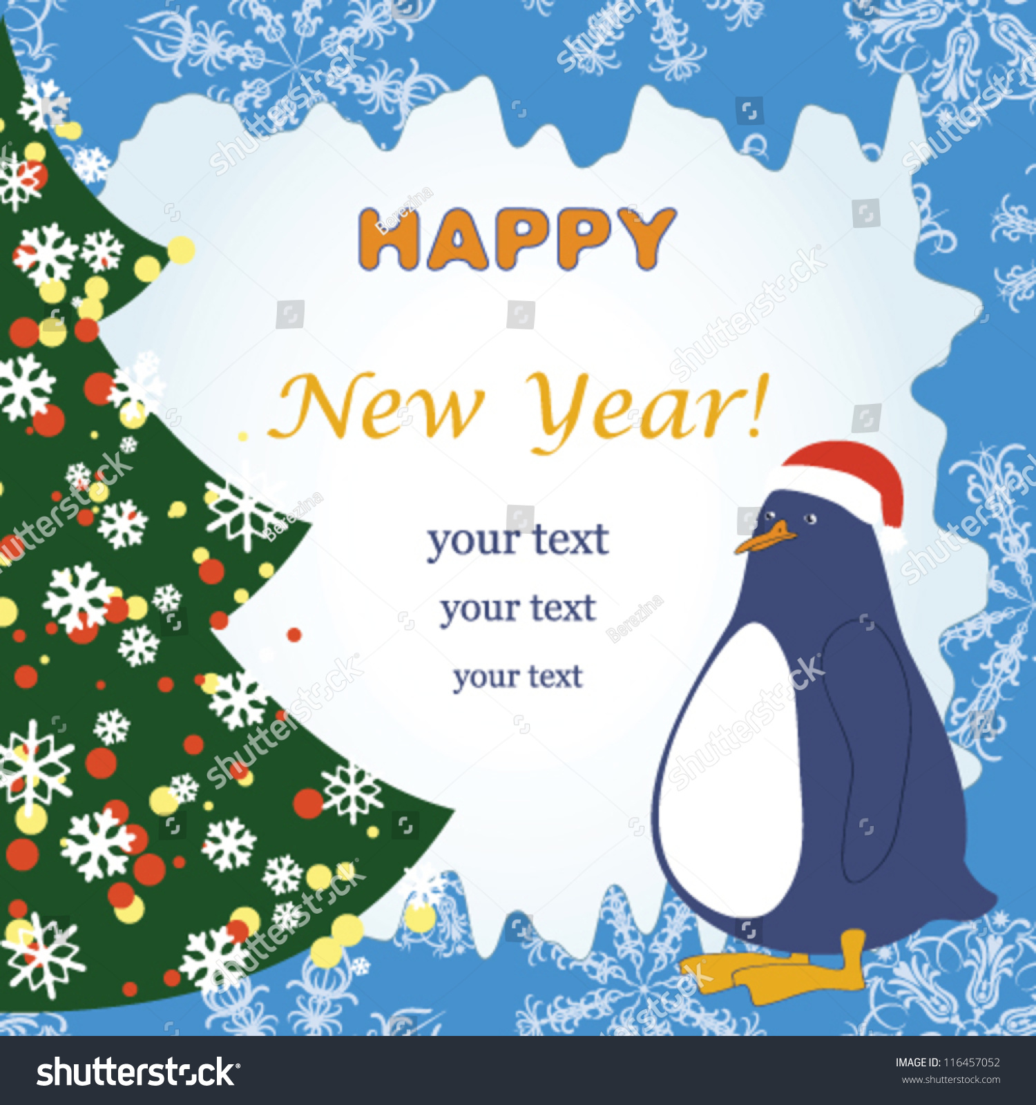 New Year Greeting Card Funny Penguin Stock Vector (Royalty Free ...