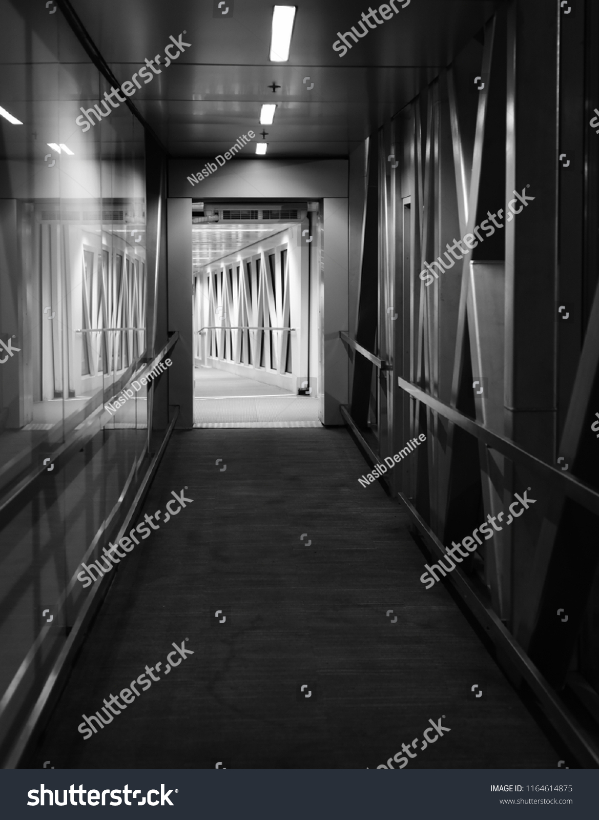 Black and white interior design of a jet bridge isolated unique photo