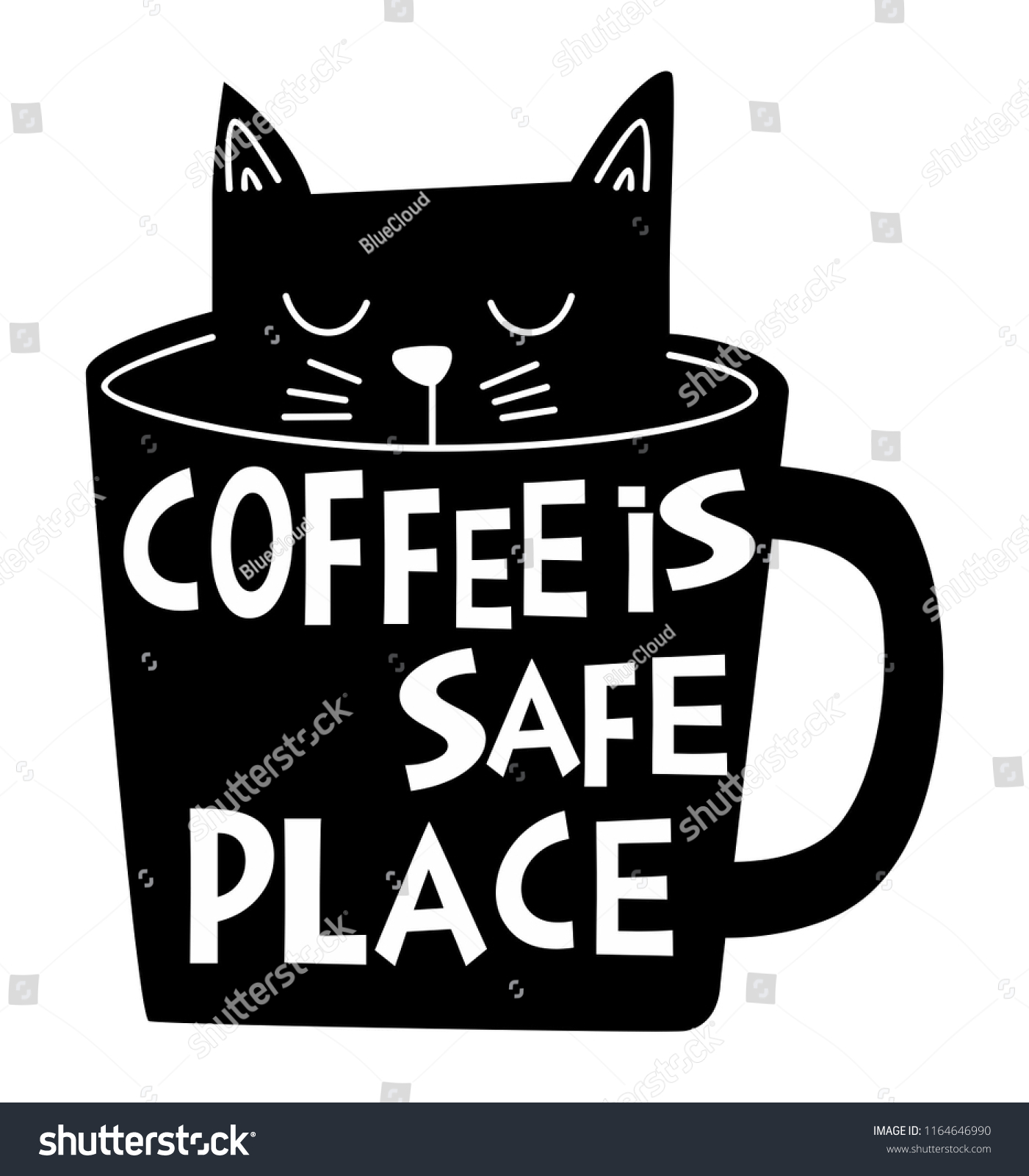 Black Cat Coffee Cup Stock Vector Royalty Free 1164646990
