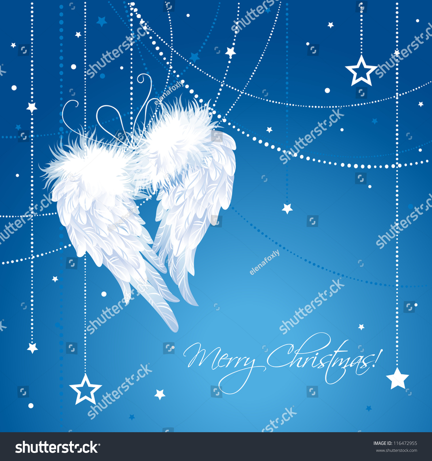 Christmas Angel.Merry Christmas Angel Wings Background Greeting Stock Vector