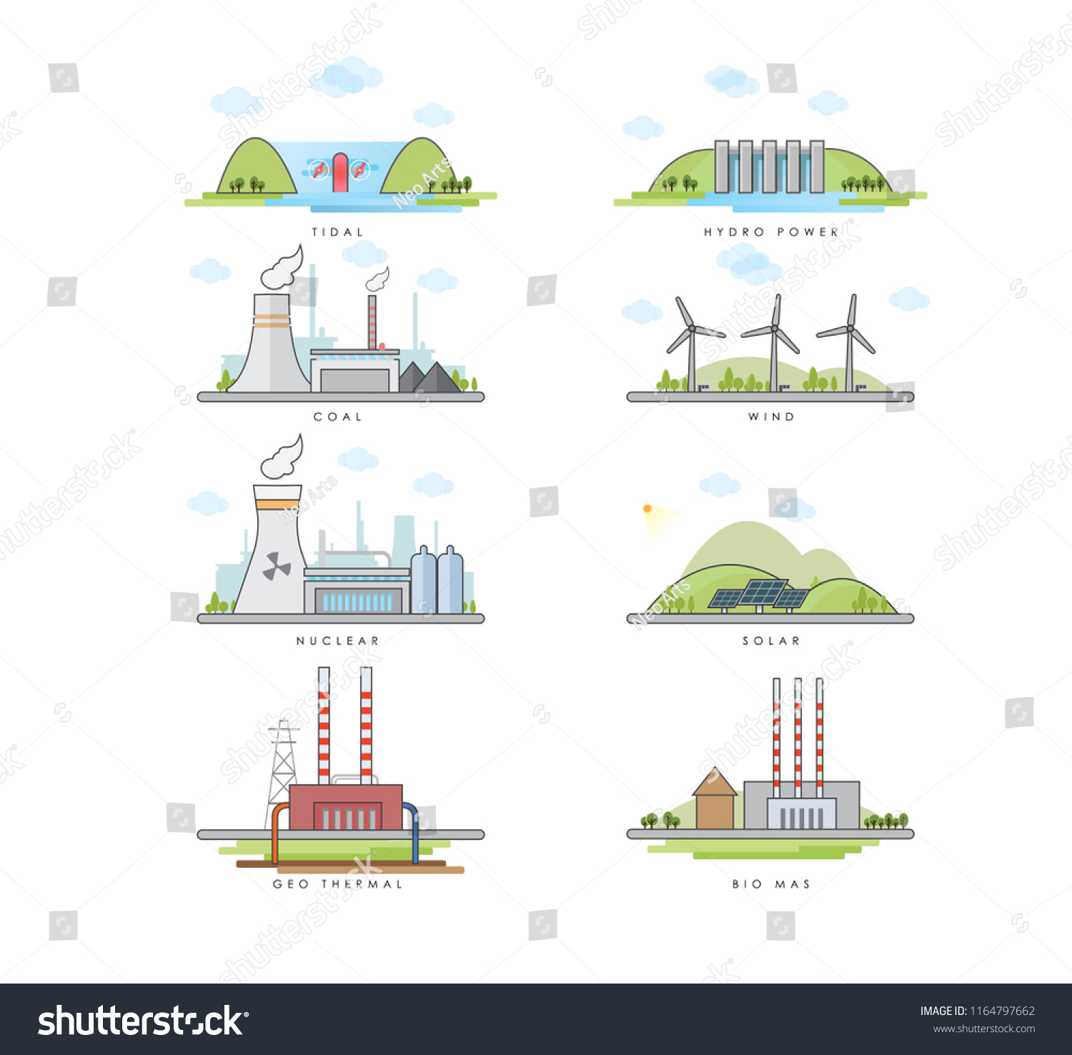 Vector Illustration Different Types Power Plants Stock Hydro Plant Layout Diagram Of Tidal Nuclear Energy