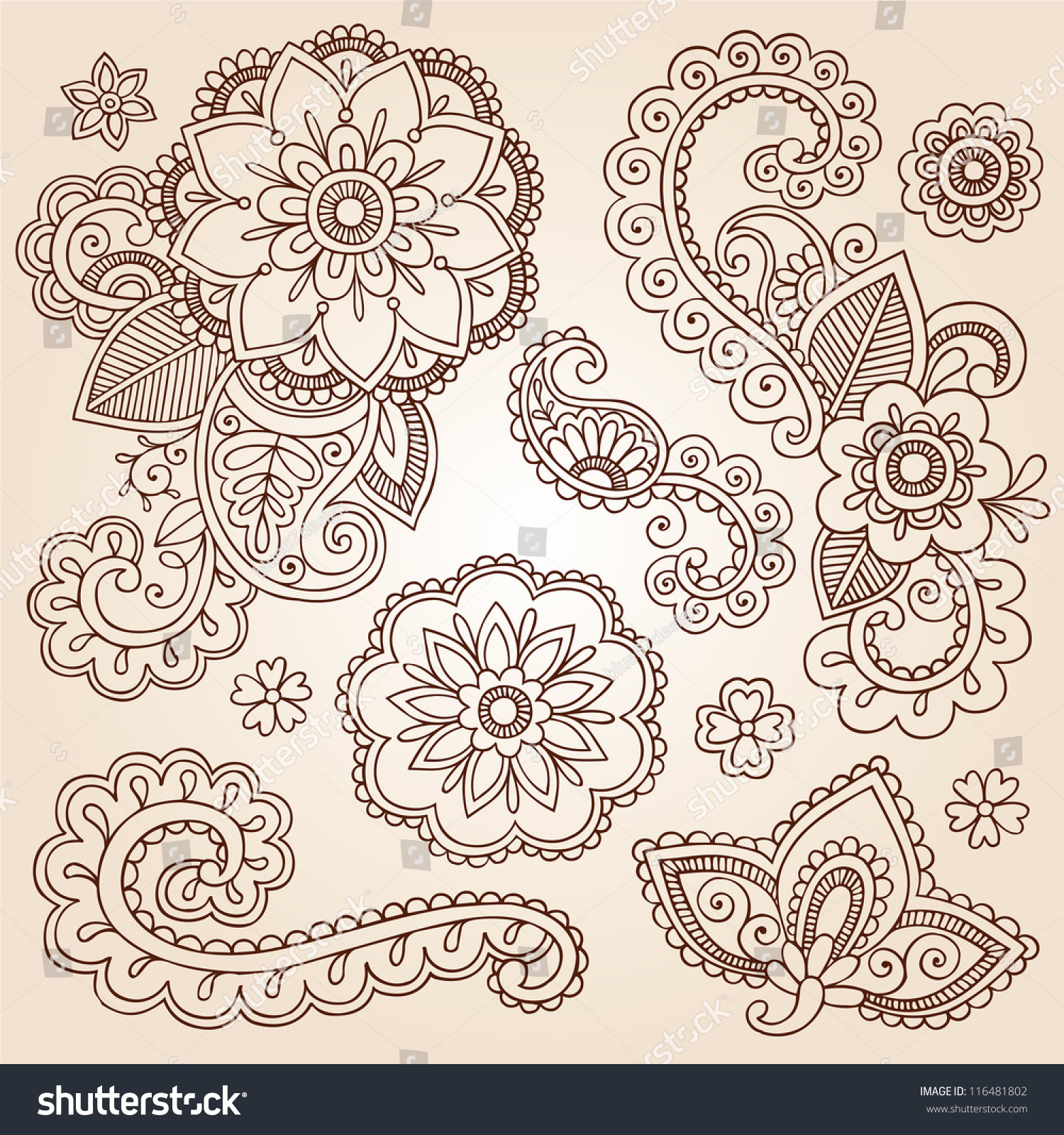henna paisley flowers mehndi tattoo doodles stock vector 116481802 shutterstock. Black Bedroom Furniture Sets. Home Design Ideas