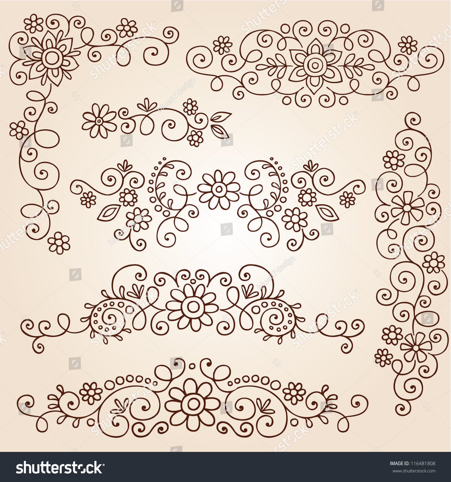 Henna Paisley Vines Flowers Mehndi Tattoo Stock Vector Royalty Free