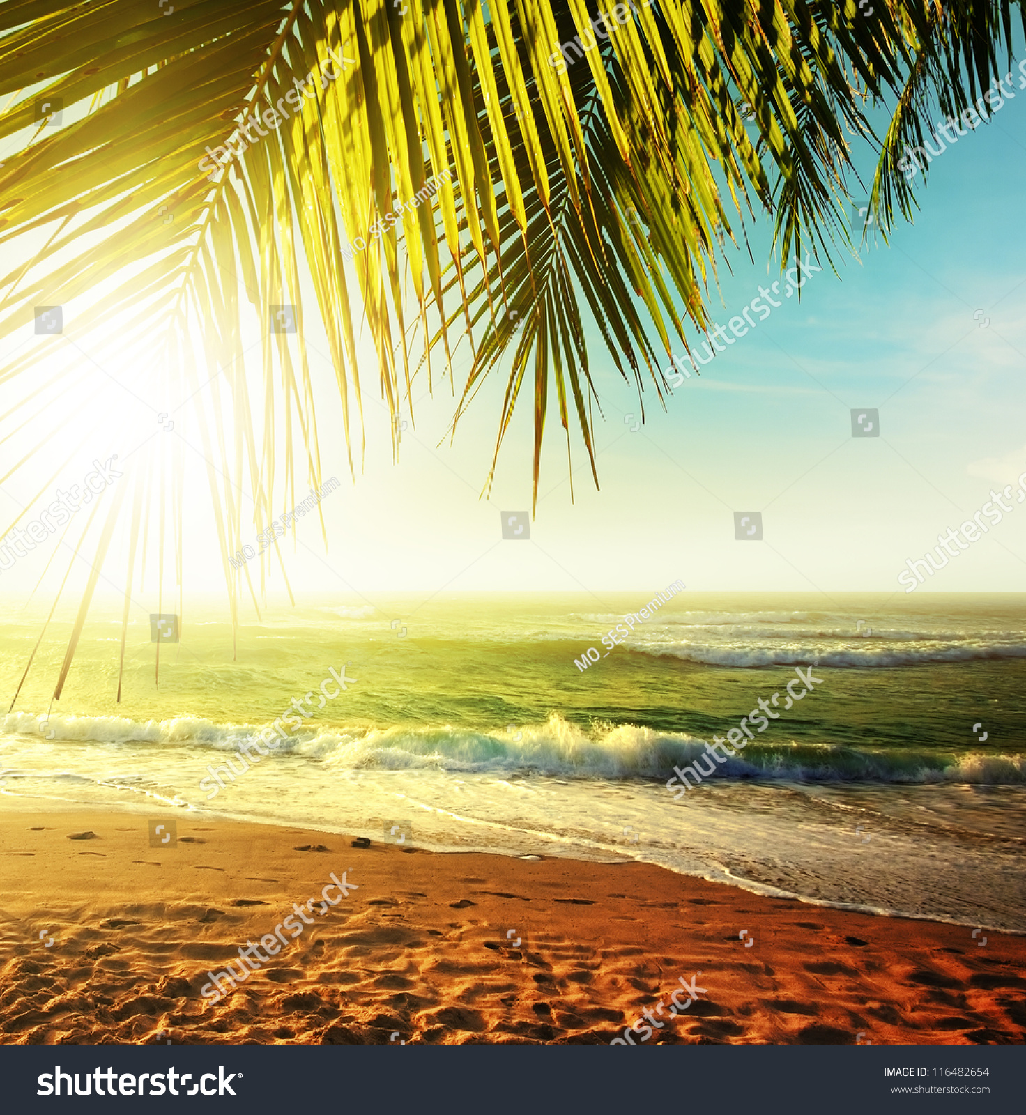 Sunset Over The Tropical Beach. Hdr Processed. Stock Photo