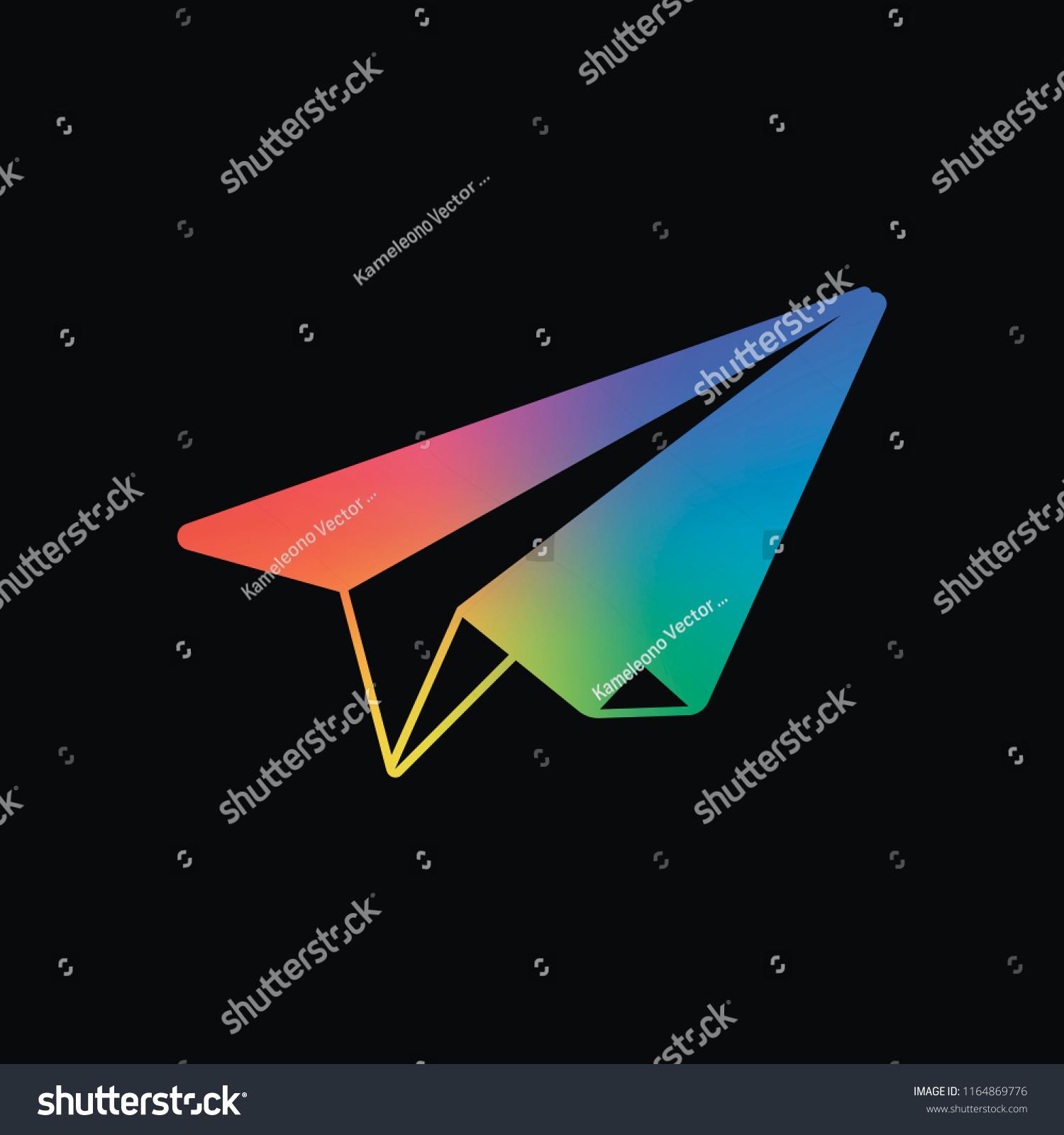 Paper Plane Origami Glider Rainbow Color Stock Vector