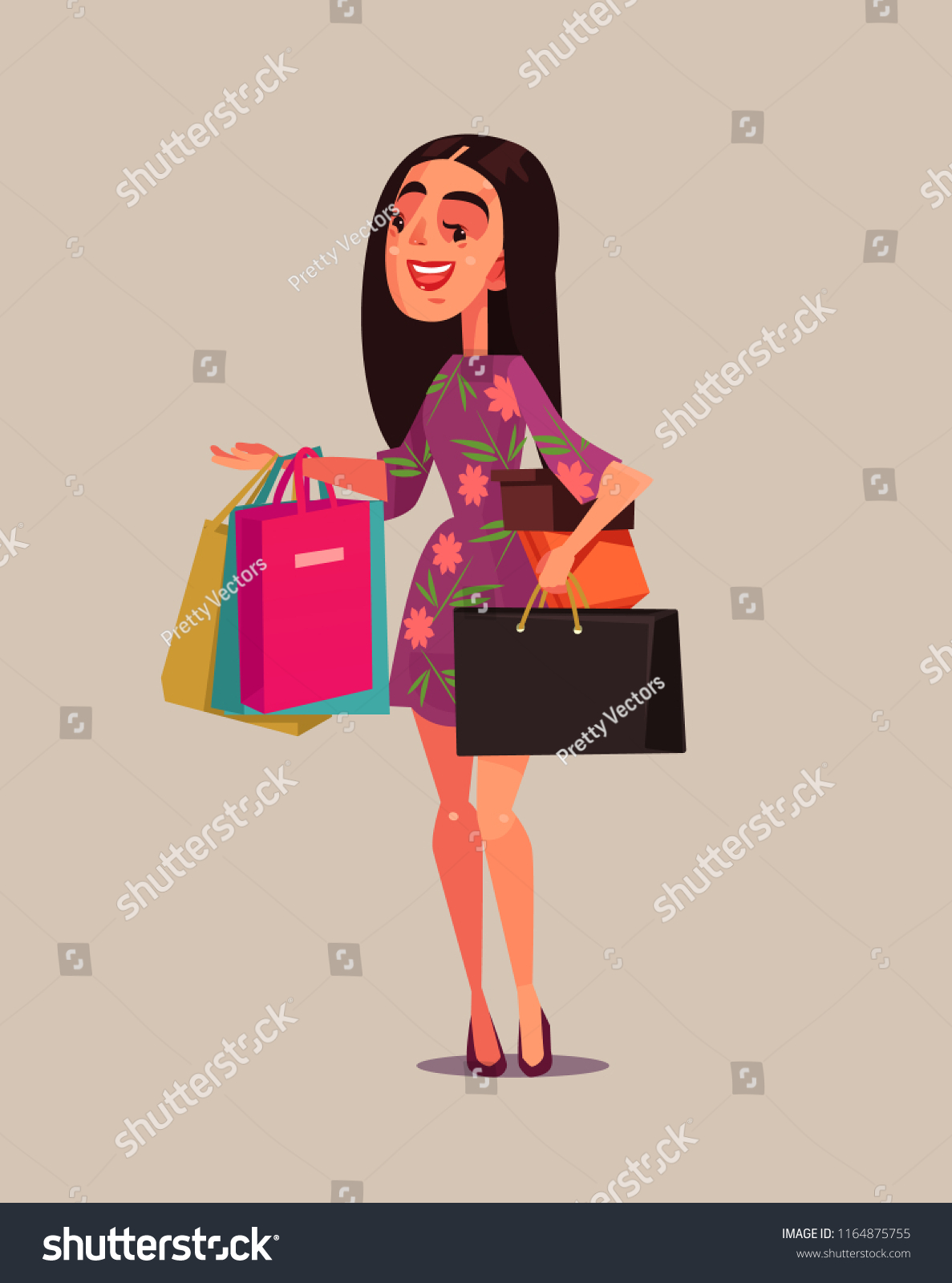 5df76b9581b Happy Smiling Woman Consumer Shopaholic Holding Stock Vector ...