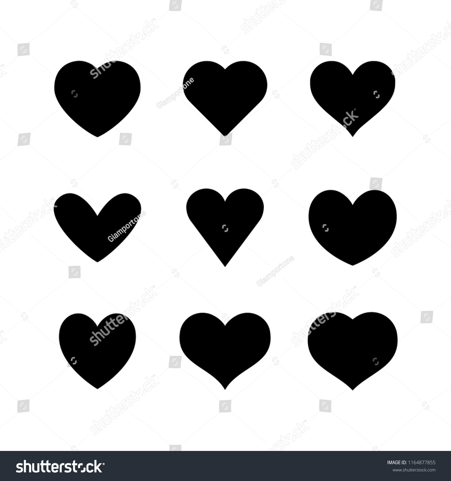 Heart Icon Collection Love Symbol Set Stock Vector Royalty Free