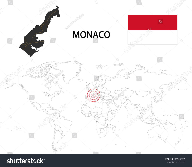 Monaco Map On World Map Flag Stock Vector Royalty Free 1165007485