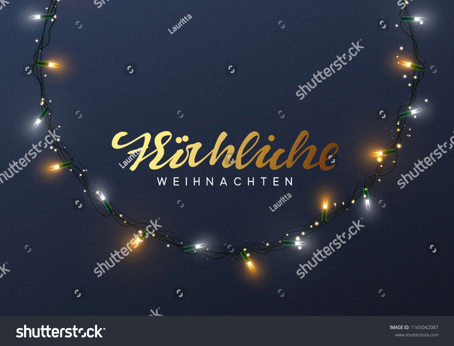 E Cards Weihnachten.Glowing Christmas Lights Wreath Xmas Holiday Stock Vector Royalty