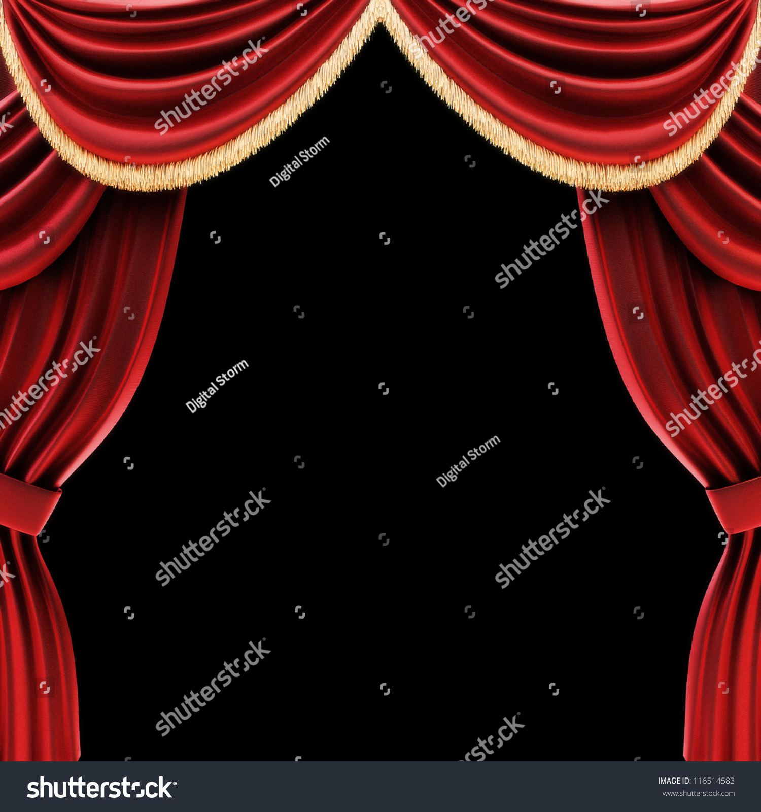 Black theatre curtain - Open Theater Drapes Or Stage Curtains With A Black Background