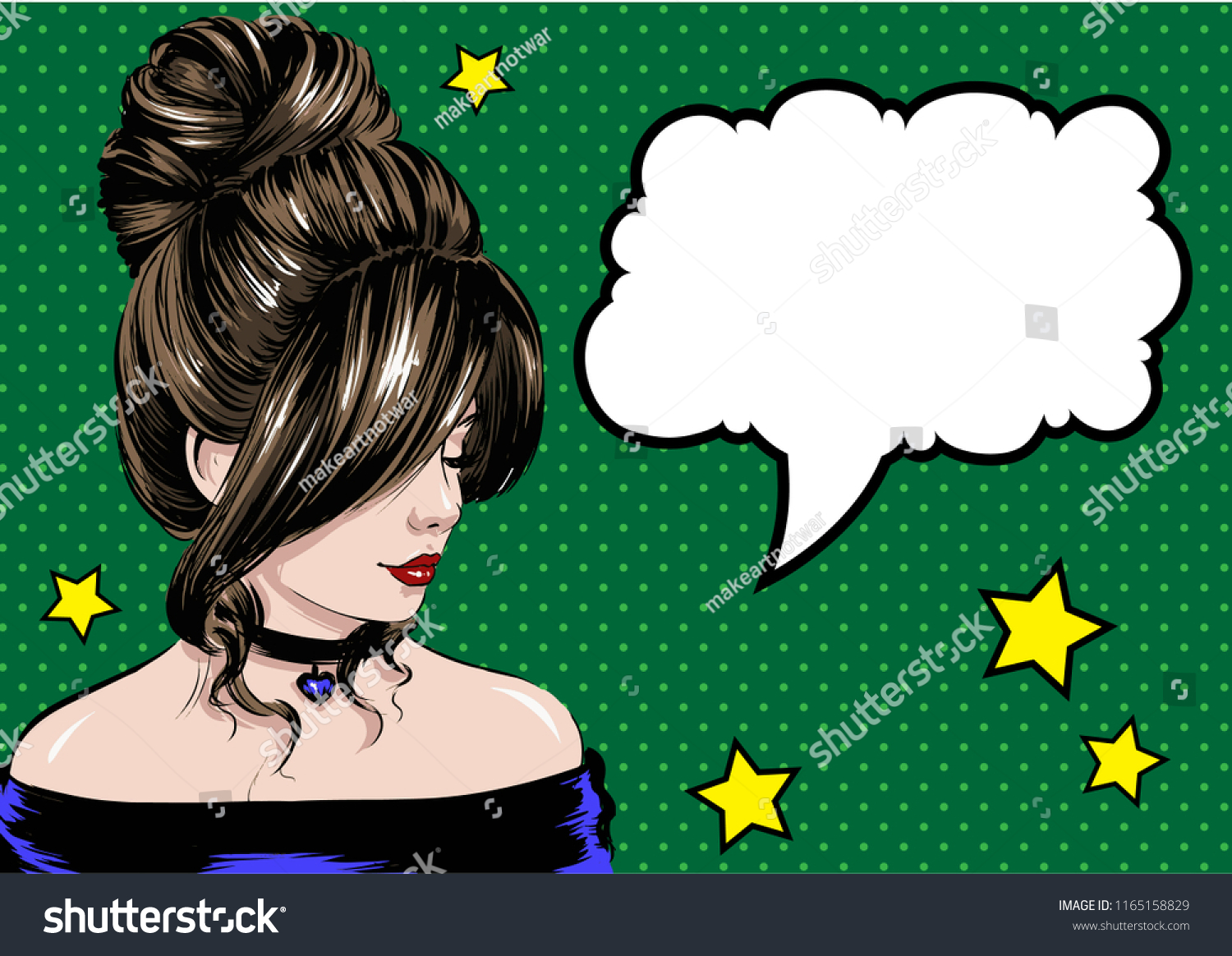 Pop Art Women Hairstyles Stock Vector Royalty Free 1165158829