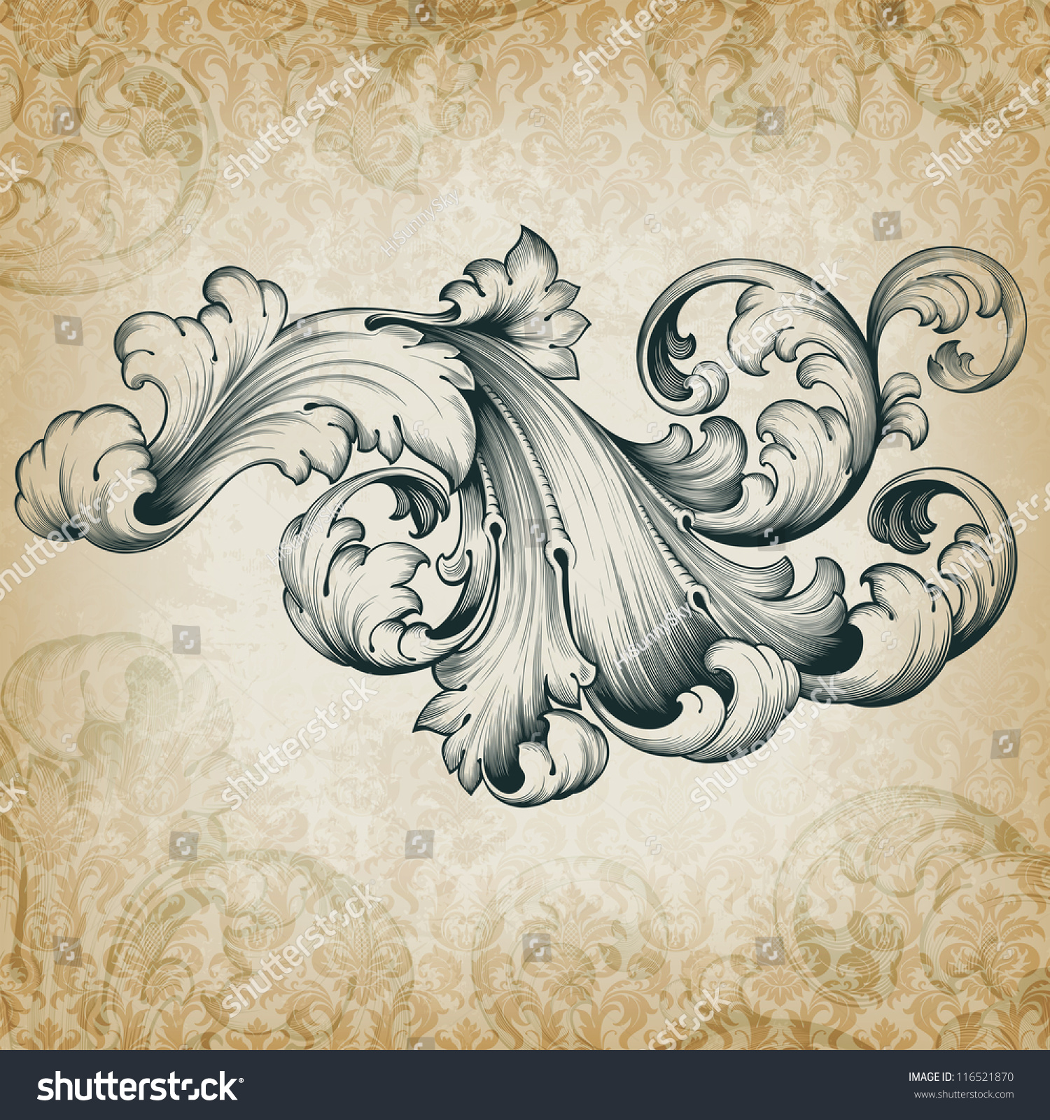 Antique Scroll Patterns: Vector Vintage Baroque Engraving Floral Scroll Filigree