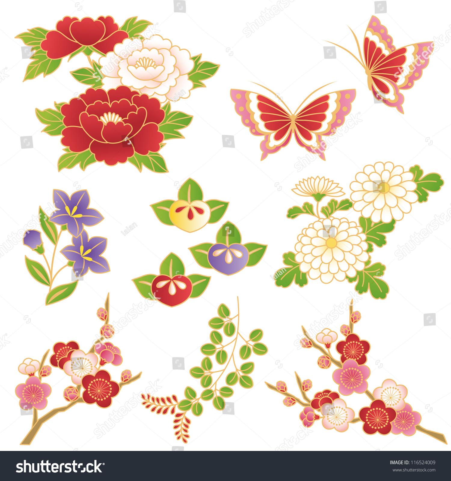 chinese flowers lagervektor   shutterstock, Beautiful flower