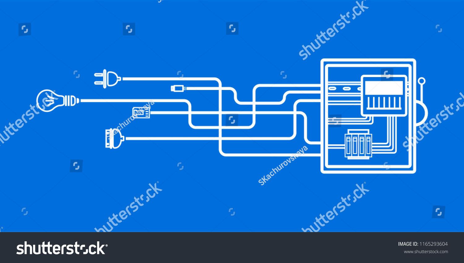 Electrical Panel Switch Wires Electric Meter Stock Vector Royalty Wiring Diagram With In Box On Blue Background