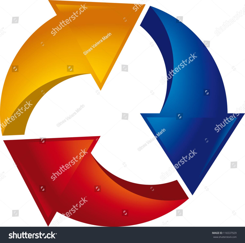 triple cycle arrows stock vector 116537929 shutterstock