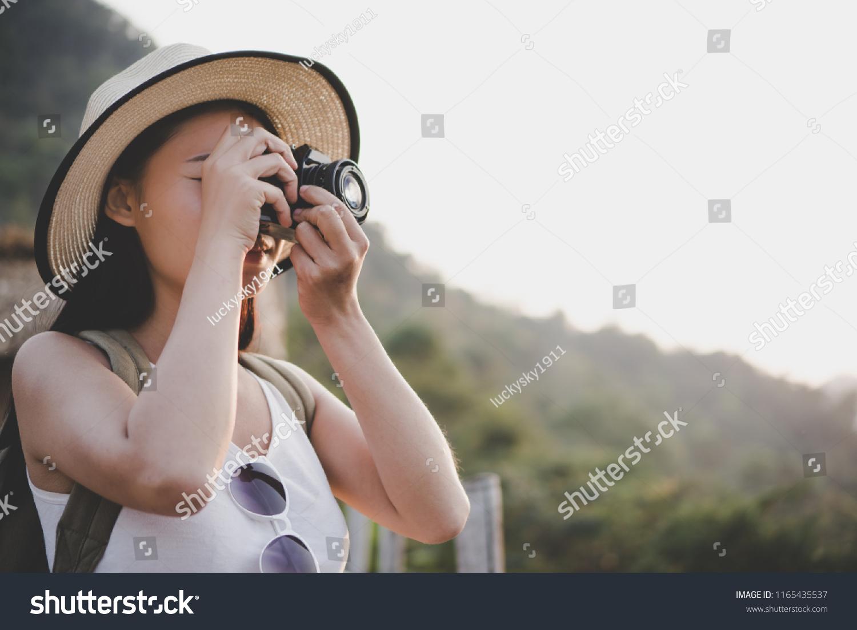 Activity Adventure Wilderness Young Woman Traveler Stock
