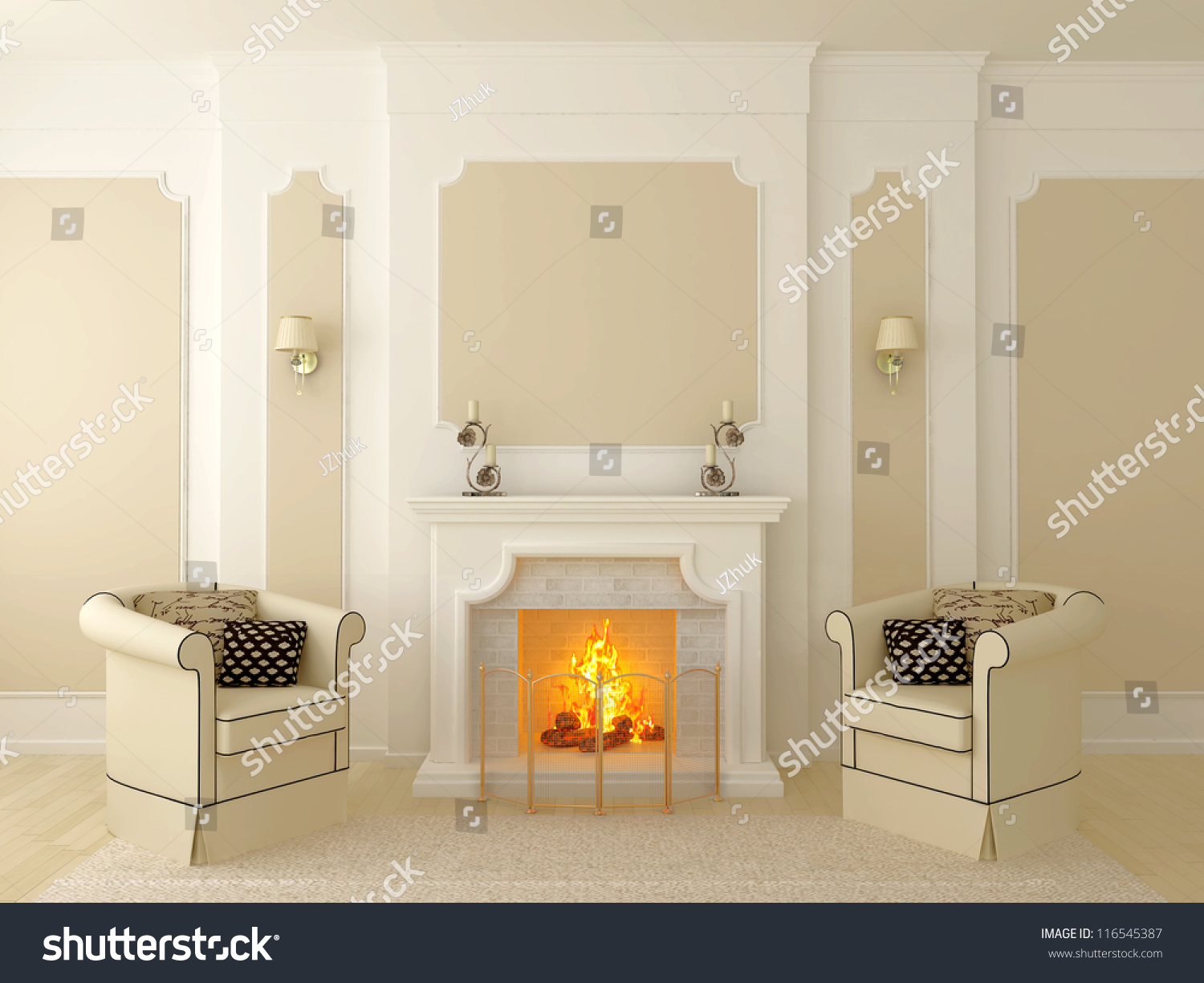Classic Interior In Beige Tones The Central Part Of Which