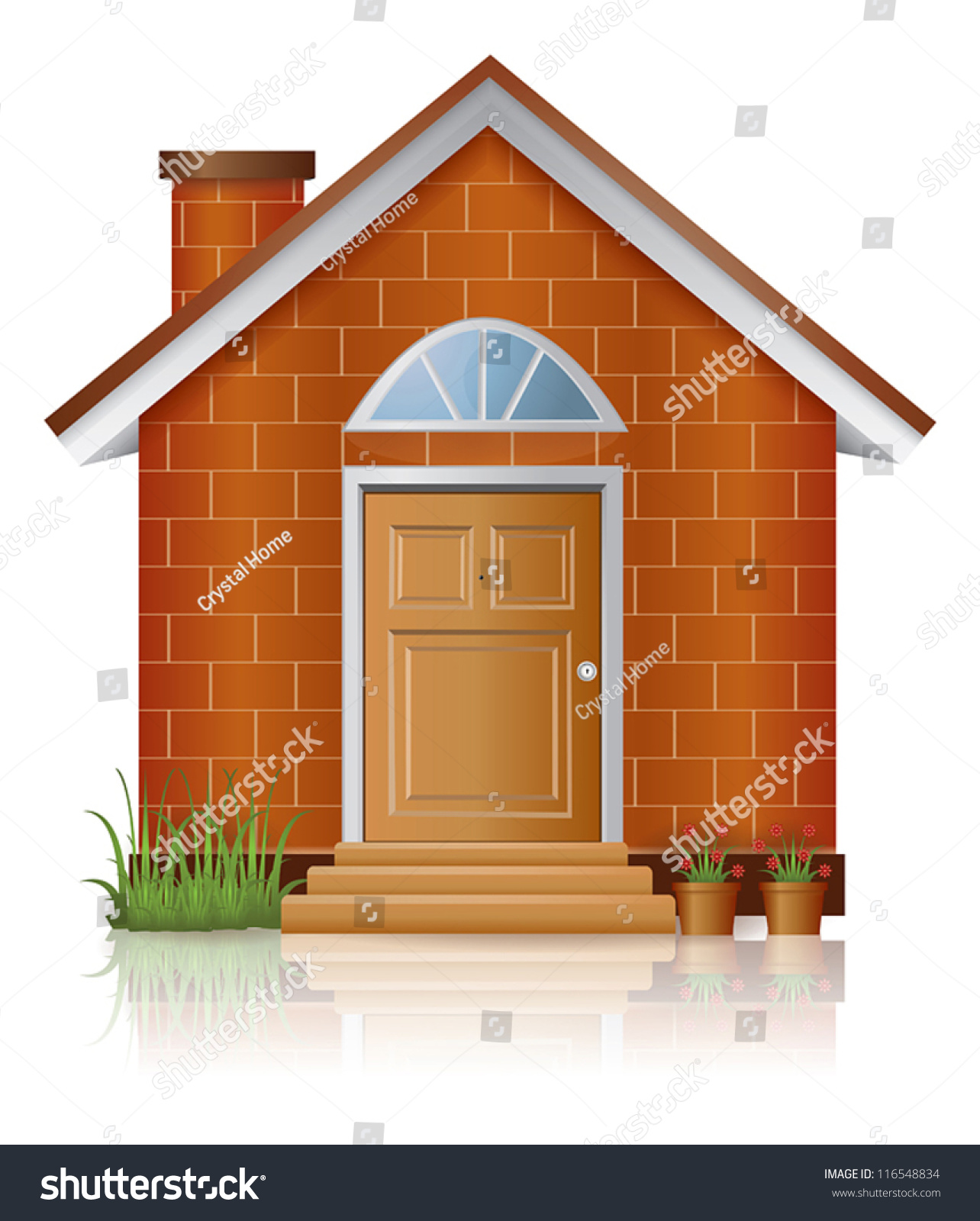Brick Vector Picture Brick Veneers: Cute Little Vintage Retro Brick House Stock Vector