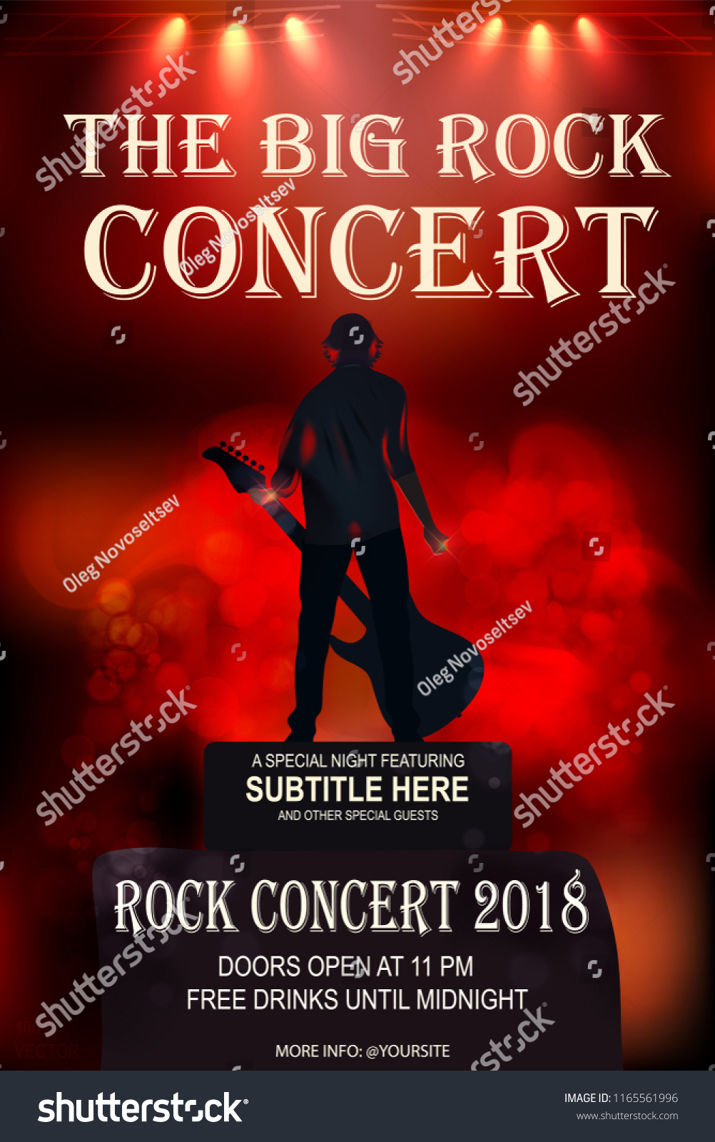 rock party concert invitation template man stock vector royalty