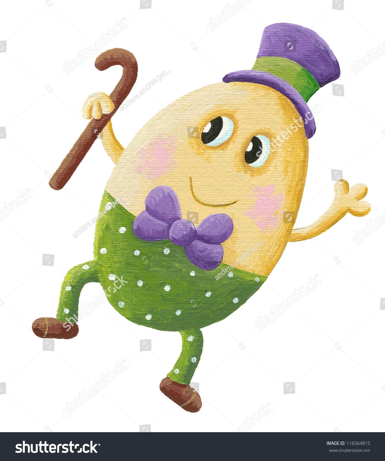 Acrylic Illustration Funny Humpty Dumpty Hat Stock Illustration