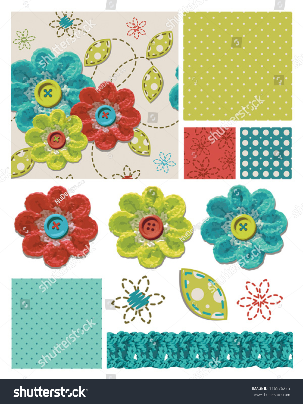 Crochet Stitches Vector : Crochet Flower Seamless Patterns And Elements. Stock Vector ...