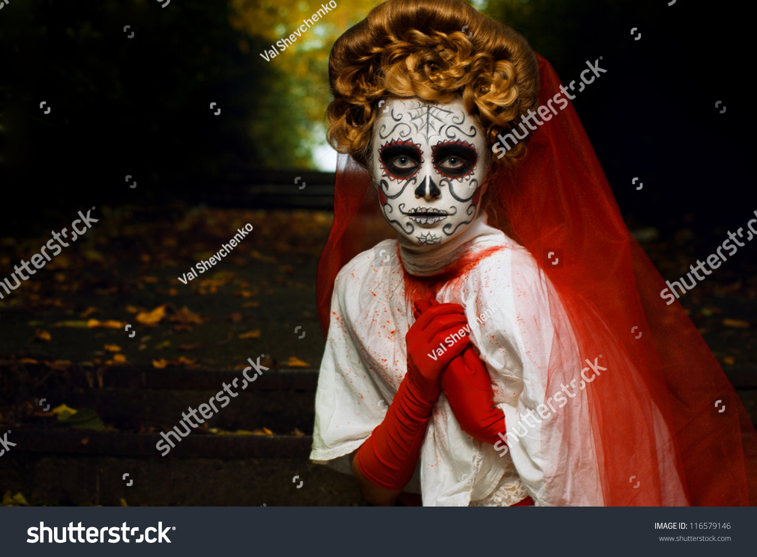 Young Woman Day Dead Mask Skull Stock Photo 116579146 - Shutterstock