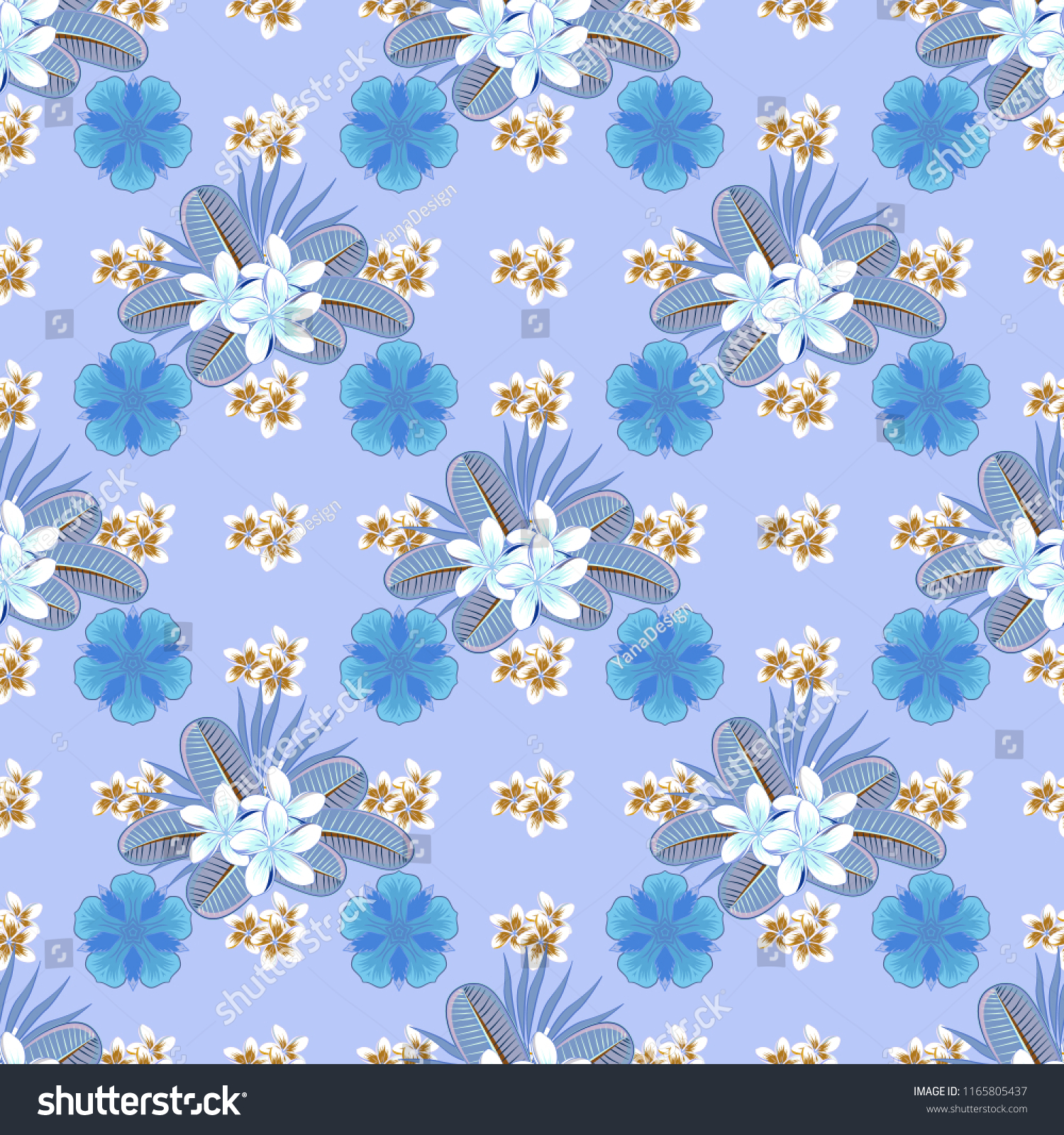 Seamless Floral Wallpaper Blue White Brown Stock Vector Royalty
