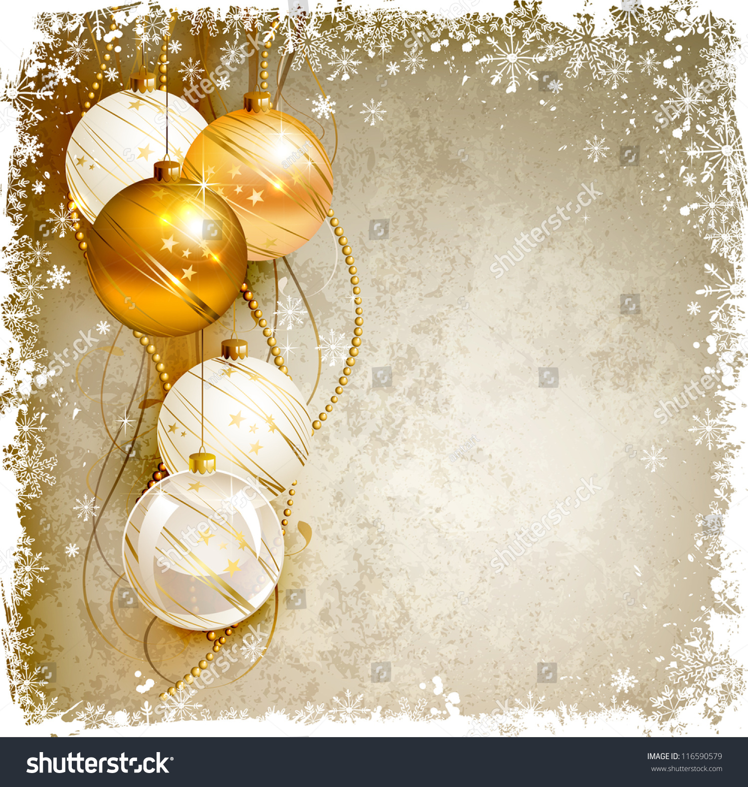 Elegant Christmas Background With Gold And White Evening Baubles Stock ...