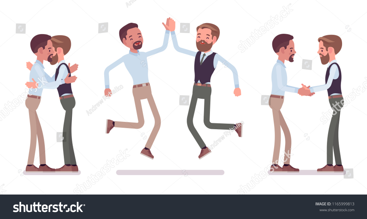 Male friends meeting greeting men giving stock vector royalty free male friends meeting greeting men giving a hug high five customers and m4hsunfo
