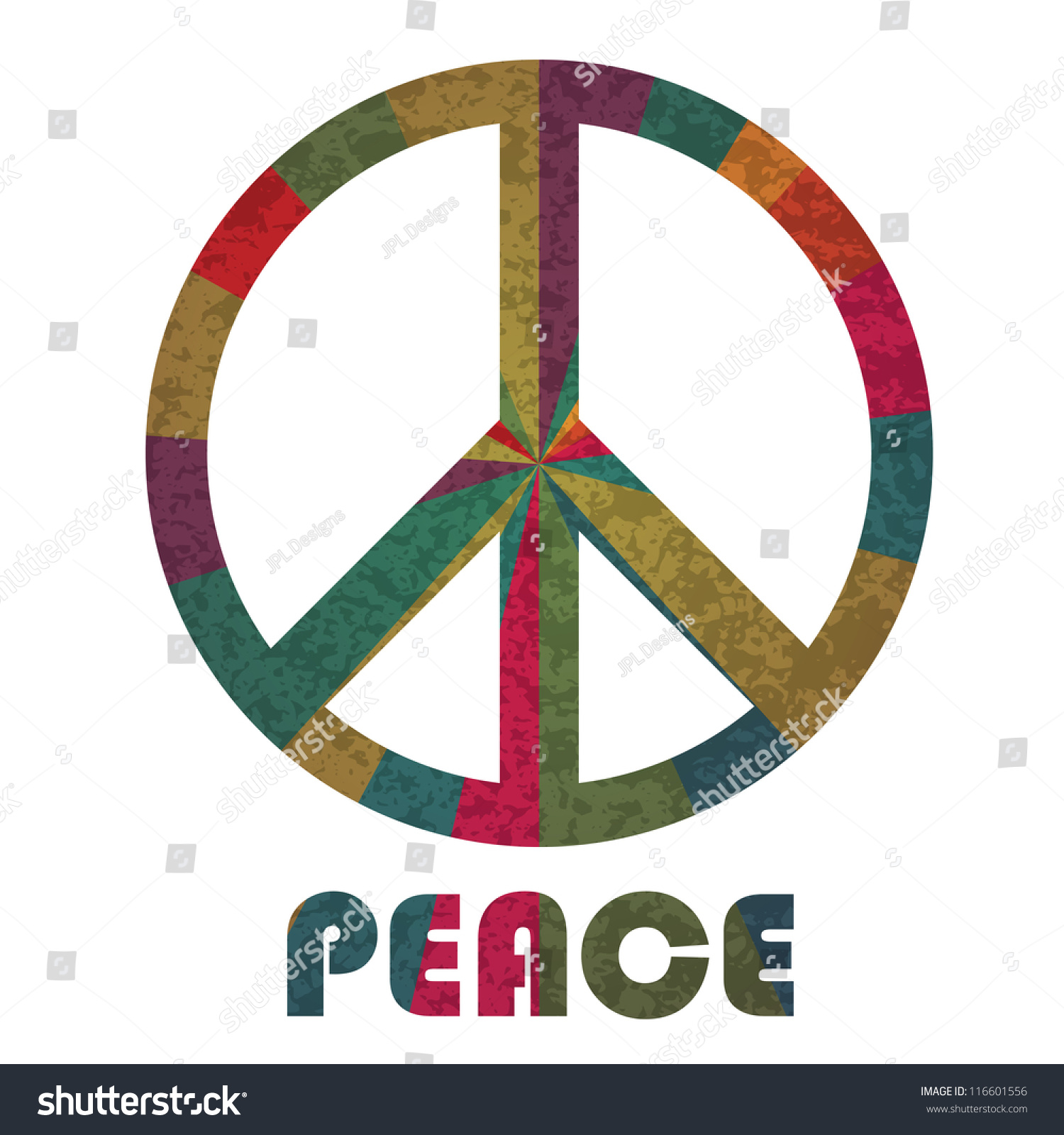 Peace Symbol Text Silhouette Rays Pattern Stock Vector Royalty Free