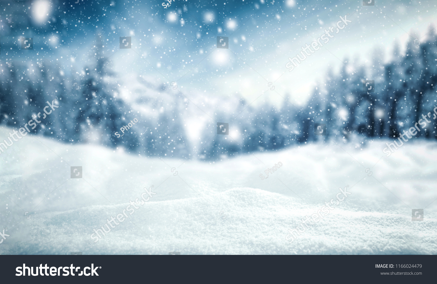 Winter background of snow and frost with free space for your decoration.  #1166024479