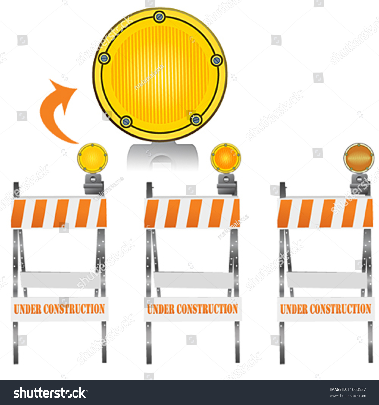 Road Barricade Signs Stock Vector Three Versions Of A Construction Barricade