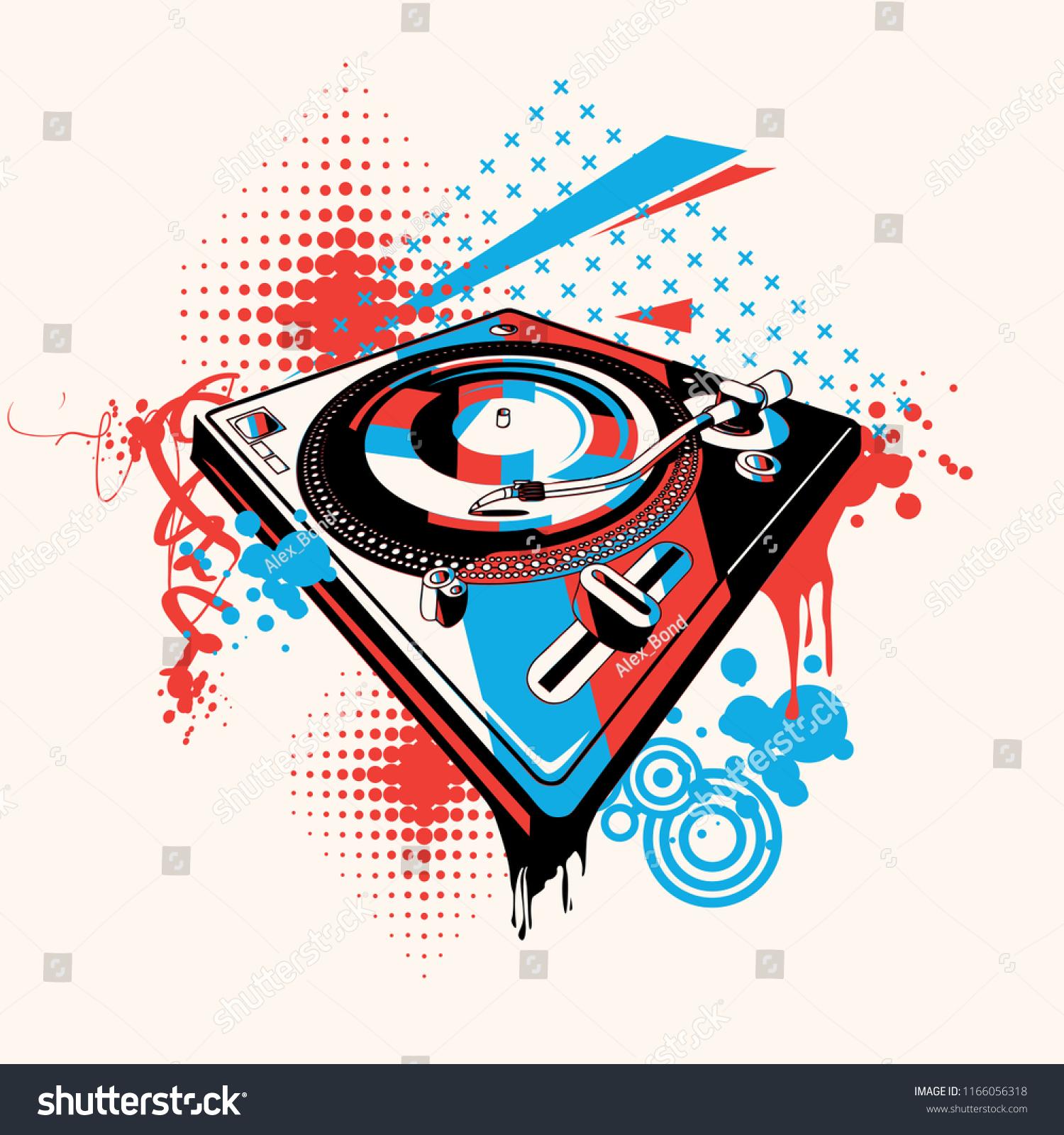 Funky turntable music graffiti