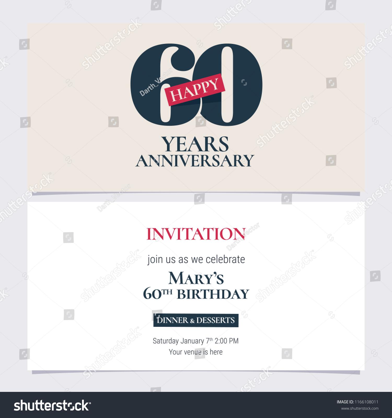 60 years anniversary invitation vector illustration stock vector