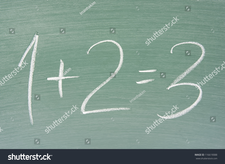 Focus Chalkboard Simple Math On Chalkboard Stock Photo (Royalty Free ...