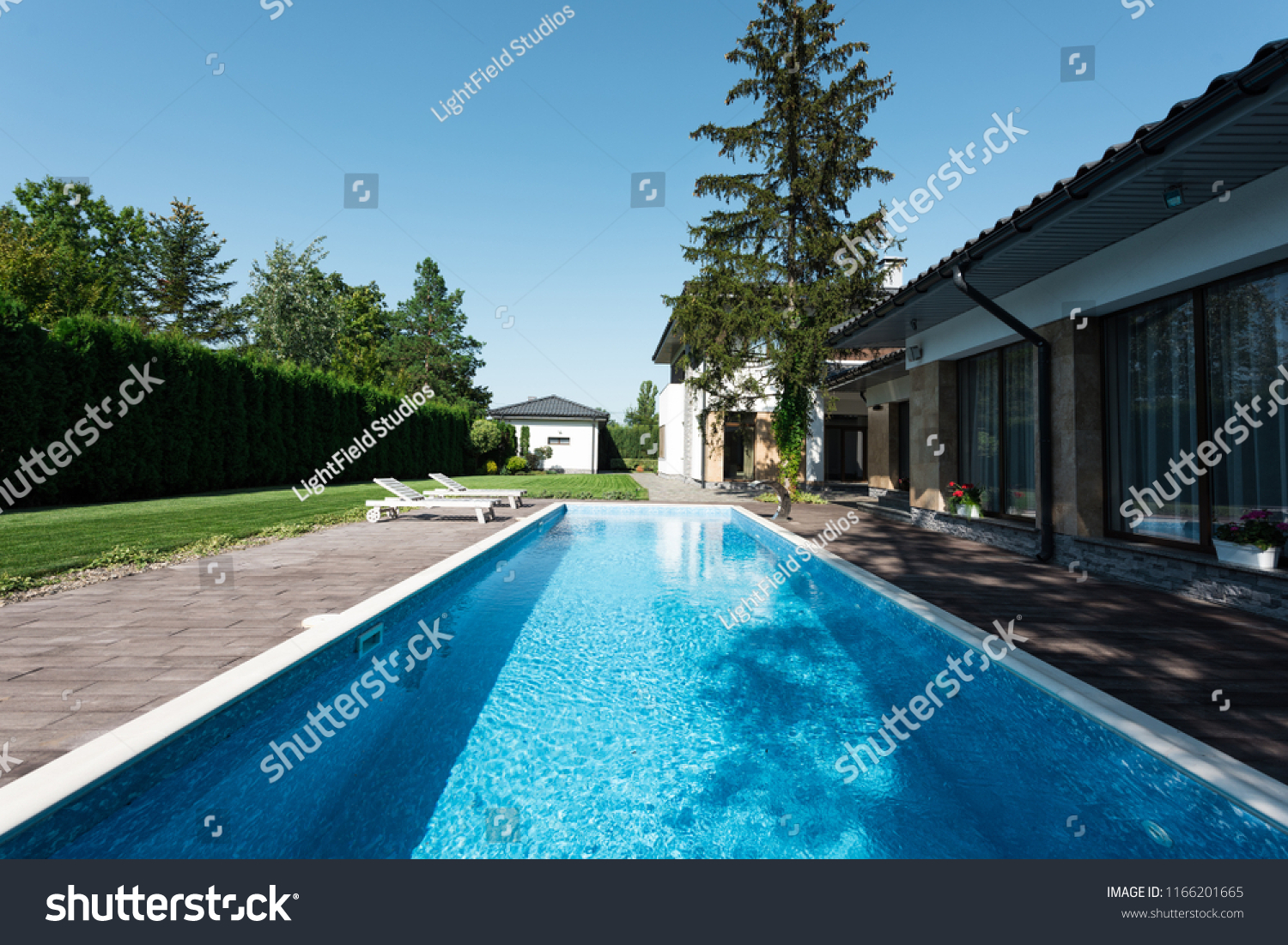 View Modern House Swimming Pool Sunbeds Stock Photo (Edit Now ... 780353bfe3
