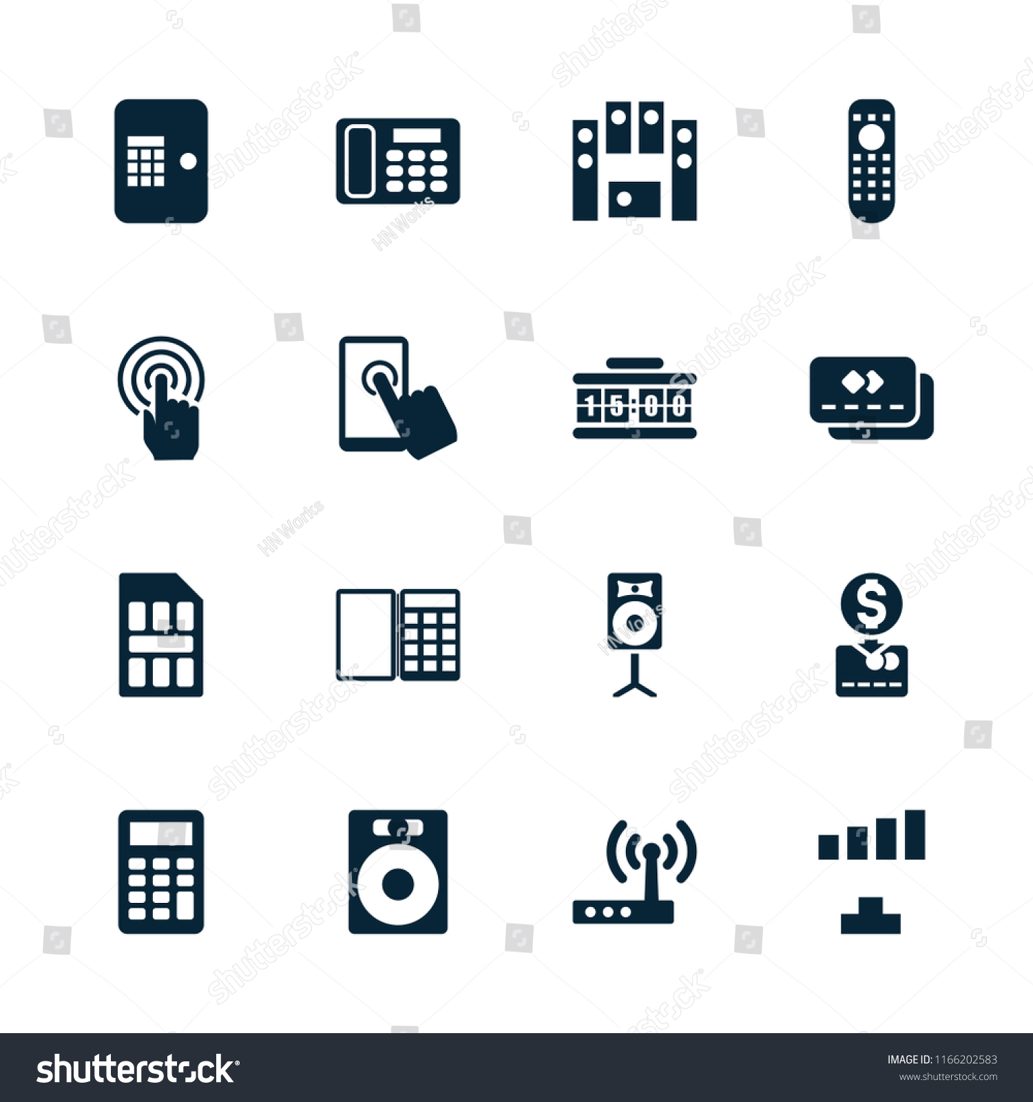 Electronic Icon Collection 16 Electronic Filled Stock Vector