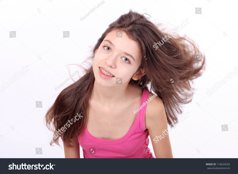 Beautiful young teen girl brackets on stock photo for Teenage beautiful girls