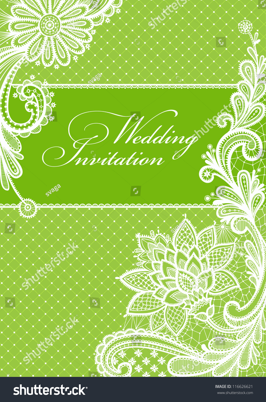 Wedding Invitation Lace Background Place Text Stock Vector