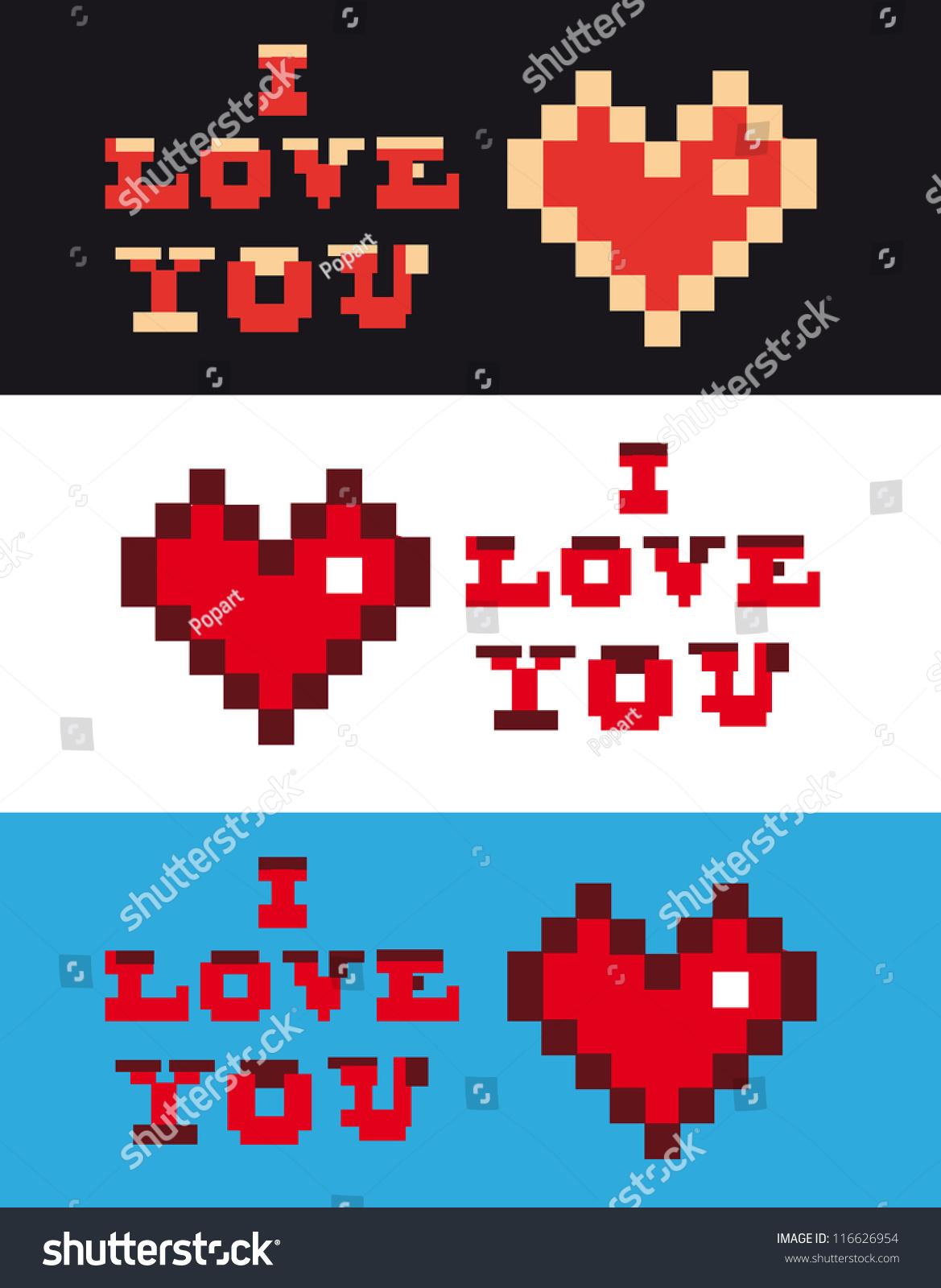 pixel art love you heart text stock vector 116626954 shutterstock. Black Bedroom Furniture Sets. Home Design Ideas
