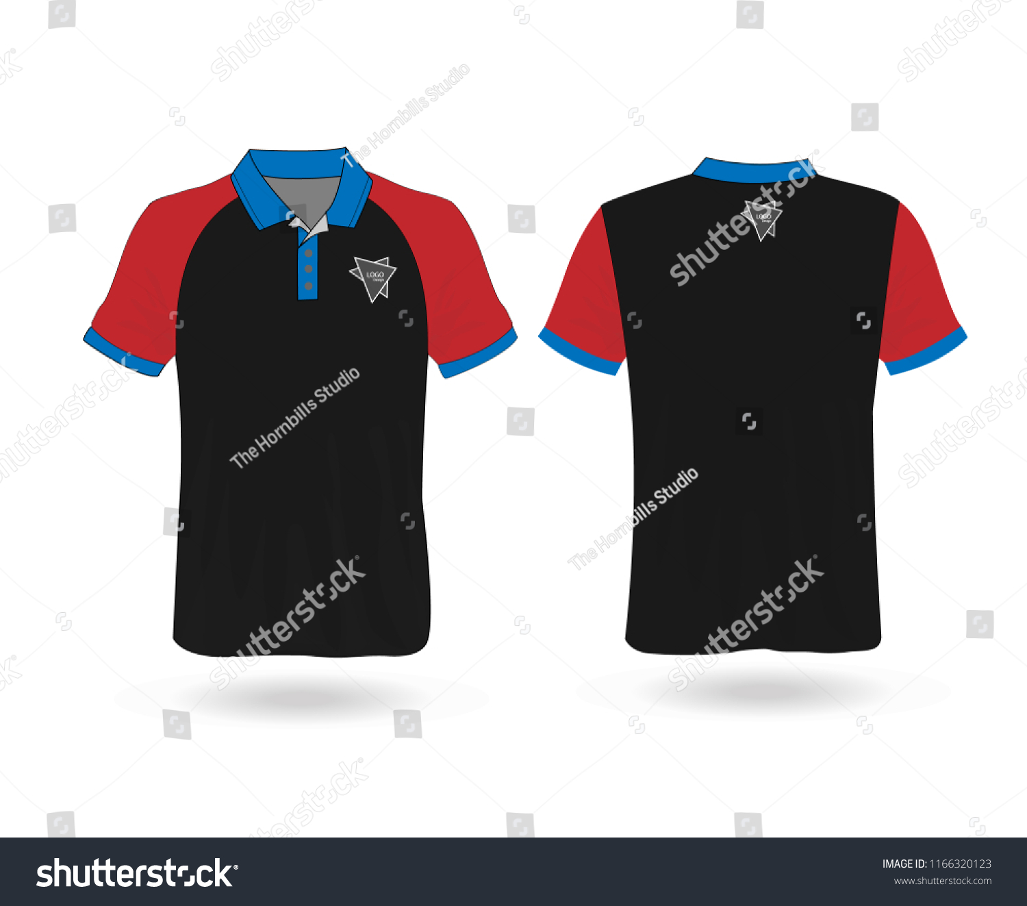 de5f750d5 T-shirt Polo Red and black template for design on white background. Vector  illustration